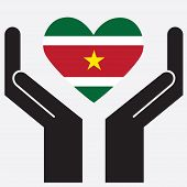image of suriname  - Hand showing Suriname flag in a heart shape - JPG