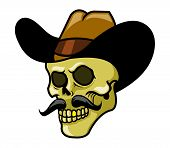foto of gold tooth  - Dead skull cowboy with gold teeth and mustache - JPG