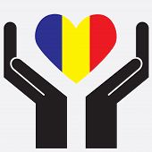 foto of chad  - Hand showing Chad flag in a heart shape - JPG