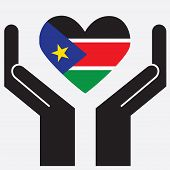 stock photo of sudan  - Hand showing South Sudan flag in a heart shape - JPG