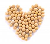 stock photo of soy bean  - Heart of soy beans isolated on the white background - JPG