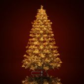stock photo of tree trim  - Christmas tree on a dark red  background - JPG