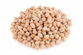 picture of chickpea  - Closeup of chickpeas isoltaed on white background - JPG