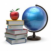foto of geography  - Globe books apple blank global geography literature icon studying knowledge symbol concept - JPG