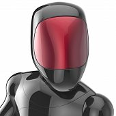 stock photo of cyborg  - Black robot cyborg android artificial concept  - JPG