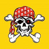 stock photo of cranium  - Pirate Skull on yellow background - JPG