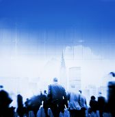 stock photo of hustle  - Business People Rush Hour Walking Commuting City Concept - JPG