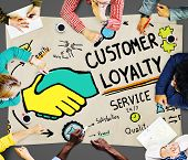 stock photo of loyalty  - Customer Loyalty Satisfaction Support Strategy Service Concept - JPG