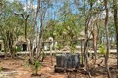 stock photo of cenote  - view of old mexican village in Yukatan Mexico - JPG
