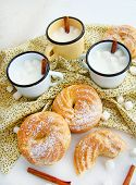 stock photo of eclairs  - Eclairs with cream, cream puffs, cream puff ** Note: Soft Focus at 100%, best at smaller sizes - JPG