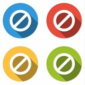 stock photo of ban  - Set of 4 isolated flat colorful buttons  - JPG