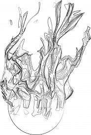 pic of uncolored  - A line art of fire uncolor traced with pencil - JPG