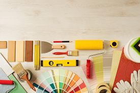 image of reconstruction  - Decorating and DIY hobby tools and color swatches with copy space on top top view - JPG