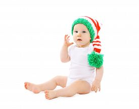 foto of gnome  - Portrait of funny baby in the hat gnome - JPG