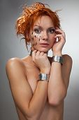 Futuristic Woman Feel Shy