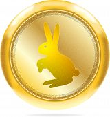 Golden Button With The Rabbit | Isolated