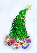 3D Christmas Tree And Presents