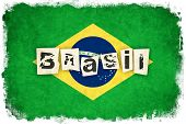 Постер, плакат: Brasil Grunge Flag Illustration Of Country With Text