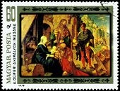 Vintage  Postage Stamp. Albrecht Durer. Adoration Of The Kings.