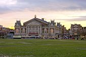 Medieval building 'Concertgebouw' at the Museumplein in Amsterdam the Netherlands at twilight