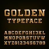 Golden Alphabet Vector Font. poster