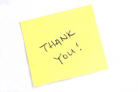 foto of thank you note  - sticky note with  - JPG