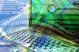 image of computer technology  - mixed media illustration of computer technology background - JPG