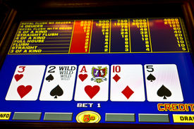 stock photo of poker machine  - poker game on slot machine las vegas - JPG