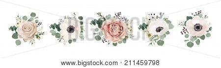 poster of Vector floral bouquet design: garden pink peach lavender creamy powder pale Rose wax flower anemone Eucalyptus branch greenery leaves berry. Wedding vector invite card Watercolor designer element set