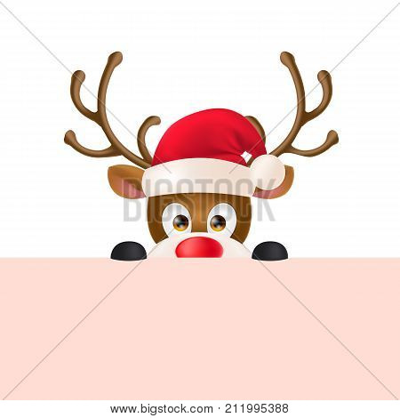 poster of Cute reindeer wearing Santa Claus hat and peeping out. Christmas design element. For greeting cards, posters, leaflets and brochures.