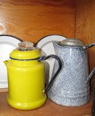 Colorful antique coffee pots
