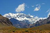 stock photo of aconcagua  - it shows the top of aconcagua in the chile mountains - JPG