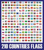 picture of bandeiras  - Illustration of 210 countries flags in one collection - JPG