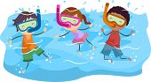 Illustration of Kids Snorkeling