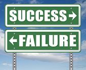 success or failure being successful in life and business road sign arrow 3D, illustration poster