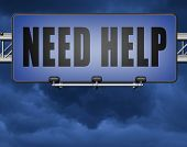 need help or wanted helping hand assistance or support desk road sign billboard 3D, illustration poster