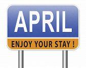 april spring month event calendar, roas sign billboard.  3D, illustration  poster