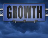growth grow market stock or business development profit rise increase, road sign billboard. 3D, illu poster