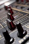 Faders On Professional Mixing Controller