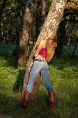 Slim Shaped Blond Girl Enjoying Forest