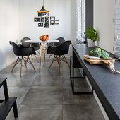 Kitchen With Long, Granite Countertop poster