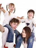 picture of hair cutting  -  Happy family with children - JPG
