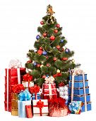 Christmas tree and group gift box. Isolated.
