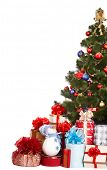 Christmas tree,  group gift box and snowman. Isolated.