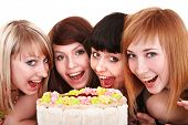 picture of happy birthday  - Group of young people celebrate happy birthday - JPG