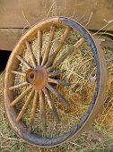 Broken Stagecoach Wheel, Portrait View poster