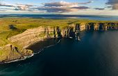 Spectacular Ireland Scenic Rural Nature Landscape From The Cliffs Of Moher In County Clare, Ireland. poster