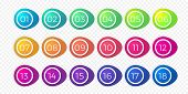 Number Bullet Point Flat Color Gradient Web Button Isolated Vector Circle Icons poster
