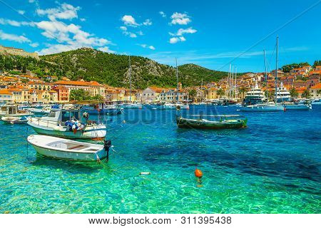 poster of Popular Travel And Beach Vacation Destination. Well Known Medieval Historic Town With Luxury Yachts,