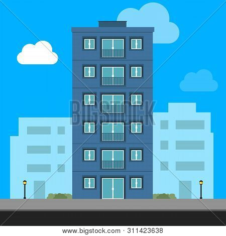 poster of Buildings Icon And Office Icon - Illustration Stock Illustration. Apartment Vector Isolated. Office